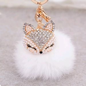Accessories - Bling kitty bag charm  -White